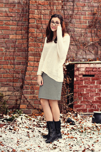 H&M sweater - Ebay boots - ann taylor skirt - American Eagle necklace