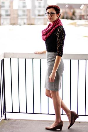 Forever 21 blouse - handmade scarf - DSW wedges - ann taylor skirt