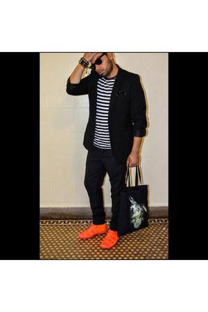 neon Louis Vuitton sneakers - poly H&M blazer - cotton stripes Gap shirt