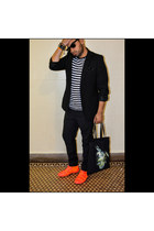 neon Louis Vuitton sneakers - poly H&M blazer - cotton stripes Gap shirt