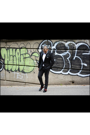 patent leather Prada shoes - wool roberto cavalli blazer - cotton H&M shirt