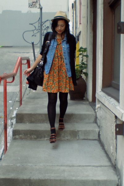 thrifted dress - thrifted blazer - Forever 21 hat