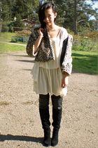 Ebay coat - DSW boots - vintage dress