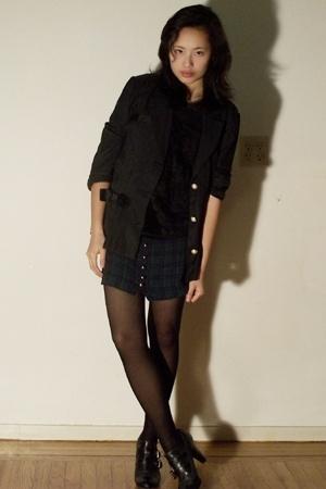 vintage dress - vintage blazer - Report shoes - thrifted t-shirt