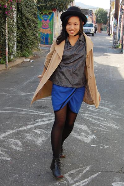 Nordstrom Rack coat - cutesygirl skirt - vintage boots