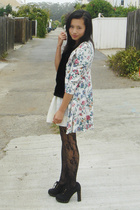 vintage coat - homemade skirt - Gap t-shirt - Givenchy tights - Newport News sho