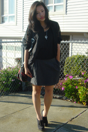 thrifted blouse - H&M skirt - Newport News shoes - vivienne westwood purse
