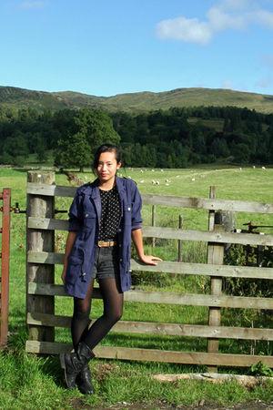 Denim & Co jacket - JBandme boots - thrifted shorts