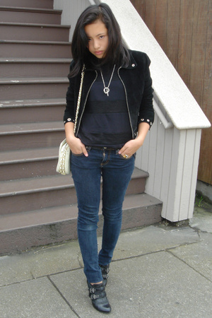 Bebe jacket - thrifted top - Nina jeans - Report shoes