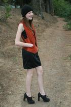 vintage vest - homemade dress - Newport News shoes - forever 21 hat