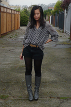 Tahari blouse - thrifted shorts - vintage boots