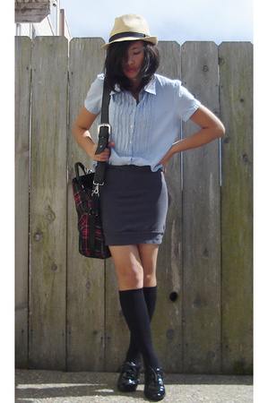 thrifted shirt - thrifted skirt - forever 21 hat - vivienne westwood purse