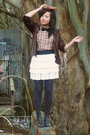 Vintage-jacket-cutesygirl-skirt-nine-west-shoes