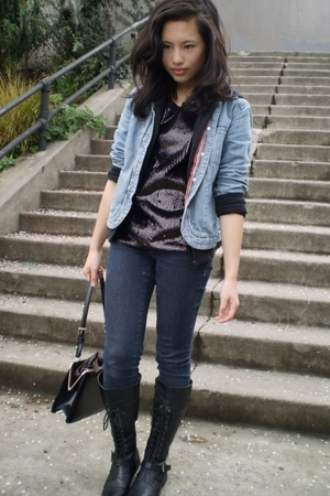 J Jill jacket - BCBG top - Ninas jeans - vintage purse