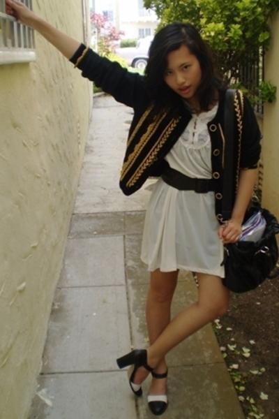 vintage jacket - vintage dress - thrifted shoes