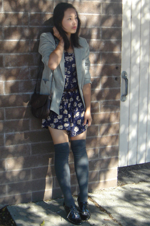 vintage blazer - thrifted dress - Via Spiga socks - Steve Madden shoes