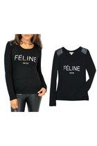 Silver FELINE MEOW Logo Long Sleeve Top