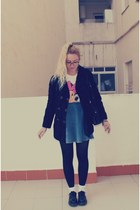 Topshop socks - Dr Martens shoes - vintage coat - Topshop skirt - Oysho t-shirt