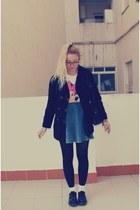 Topshop socks - Dr Martens shoes - vintage coat - Topshop skirt - Oysho t-shirt