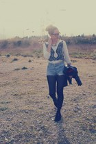 creepers shoes - vintage jacket - Levis shorts - Zara sweatshirt