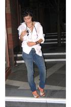 Michael Kors shirt - currenteliott jeans - Bakers shoes - Eryn Brinie necklace