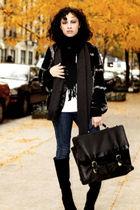 black vintage sweater - black vintage boots