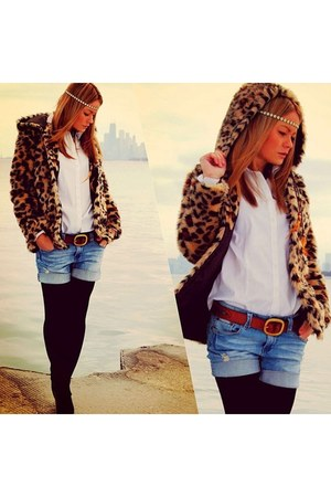 asos coat - Miss Sixty shorts - hm blouse