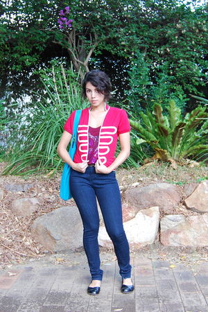 blue Topshop jeans - red peter alexander jacket - red Mango top - blue Handbag -