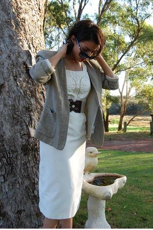 green Masuka blazer - beige unknown brand top - beige unknown brand skirt - beig