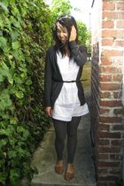 f21 cardigan - BDG tights - thrifted belt - ecote shoes - Marc Jacobs necklace -