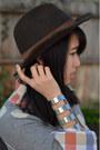 Madewell-shirt-pendleton-hat-f21-sweater-asos-bracelet-asos-skirt