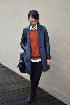f21 coat - JCrew sweater - Ebay top