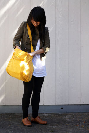 American Eagle blazer - Chelsea Crew shoes - thifted dress - Kipling bag - f21 t
