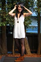 white thrifted dress - Minnetonka boots - walgreens tights - asos accessories -