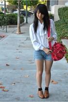 thrifted blouse - Kipling bag - Zara belt - gifted accessories