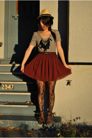 modified H&M shirt - Zara shoes - urban outiftters tights - aa skirt