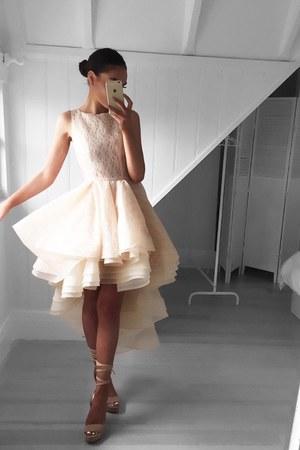 beige White Runway dress