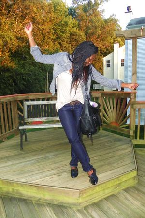 silver Old Navy jacket - blue American Eagle jeans - black Report shoes