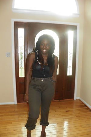 green Dickens pants - black Old Navy blouse