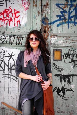 gray Forever21 cardigan - brown H&M accessories - purple Aldo scarf
