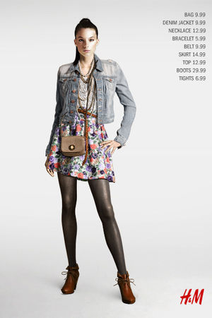 H&M accessories - jacket - brown shoes - gray tights - skirt