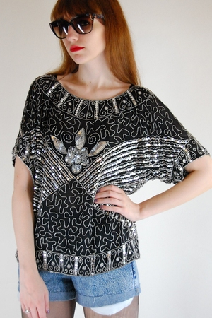 silver sequin top blouse