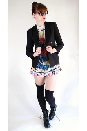blazer - shirt - boots
