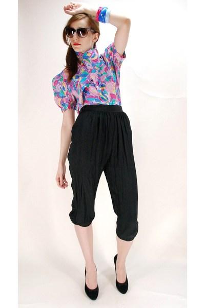 vintage blouse - Contempo Casuals pants - Nine West shoes