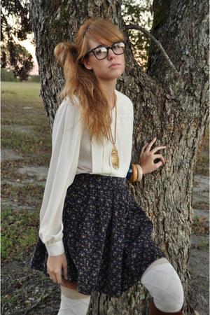 ivory vintage blouse - brown etienne aigner boots - cream Target socks