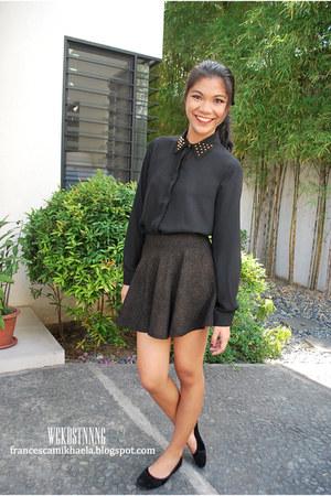 skater skirt - black chiffon studded Forever 21 blouse