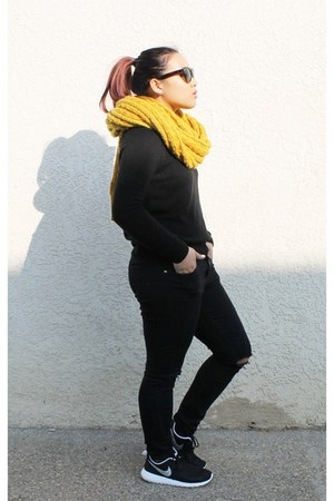 mustard chunky knit Forever 21 scarf