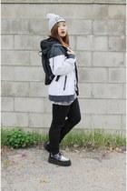 periwinkle dimepiece hat - black creepers TUK shoes - white nike jacket