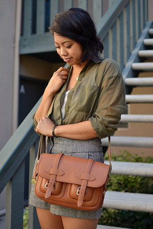 leather vintage dooney and bourke bag - thrifted shorts - sheer H&M blouse - cot