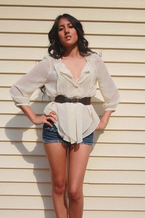 Forever21 blouse - hollister shorts - Forever21 heels